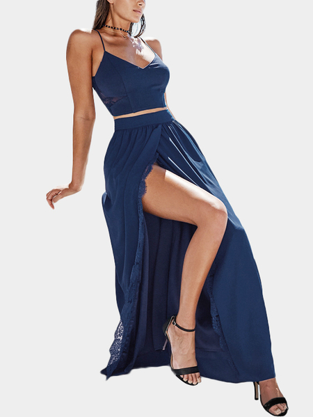 Opening Split with Lace Trim Maxi Skirts in Navy