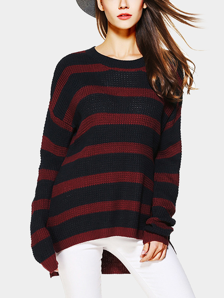 Red And Black Stripe Pattern Round Neck Long Sleeves Jumper