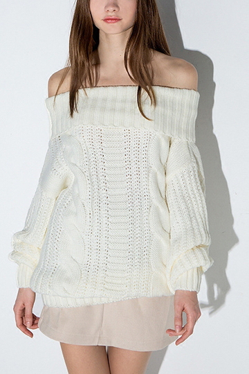 White Sexy Off Shoulder Causal Jumper with Lantern Sleeves