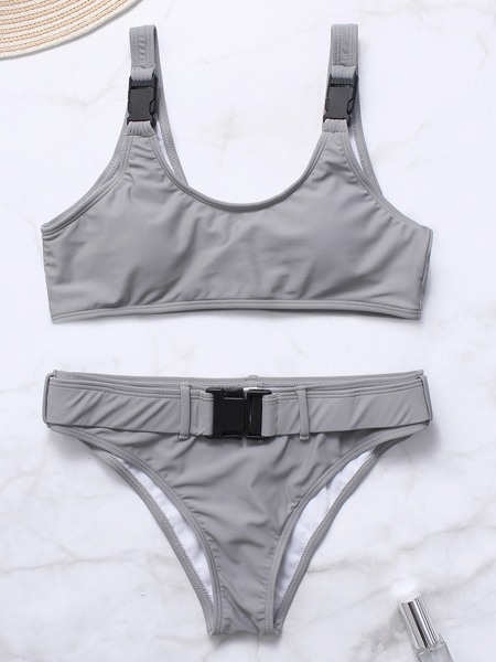 Grey Scoop Neck Sleeveless Big Buckle Bikini