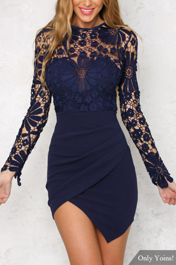 Wrap Front Irregular Hem Manga comprida Mini Dress with Lace Details