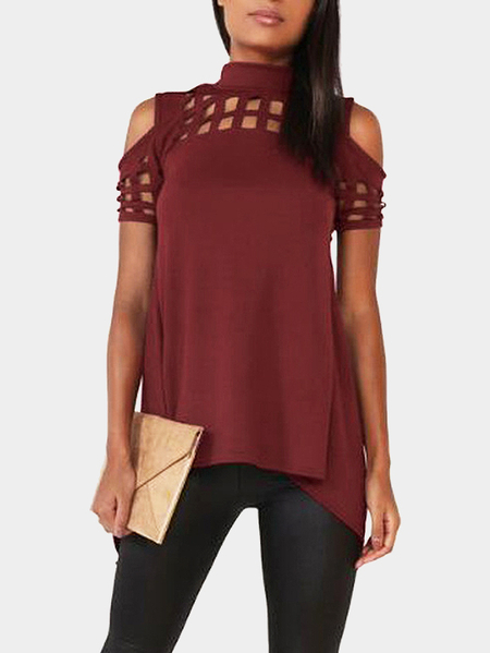 Burgundy Cold Shoulder Cut Out Hollow Splited Hem Back T-shirts