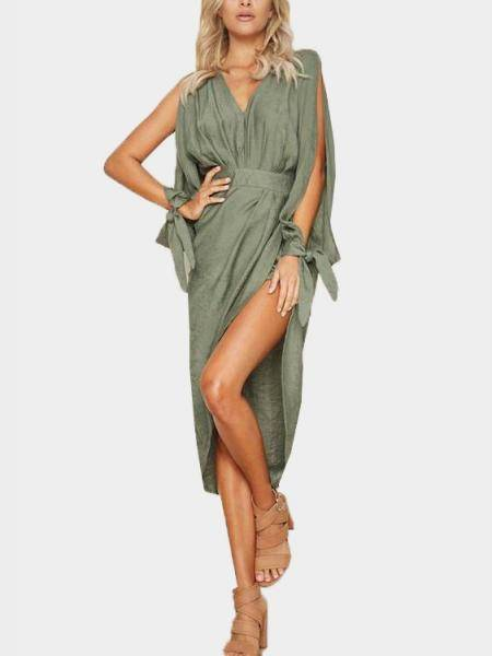 Army Green Splited Design Cold Shoulder Dress with Irregular Hem