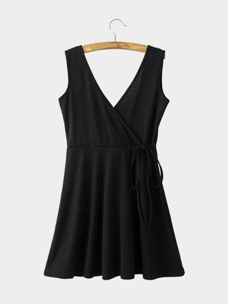 Black V-neck Wrap Front Self-tie Mini Dress