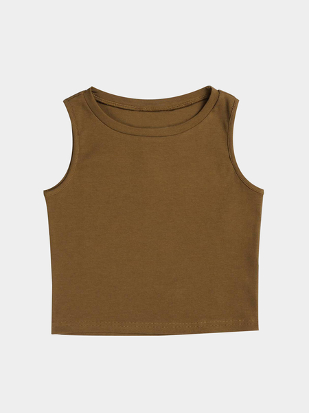 Active Cut Out Round Neck Quick Drying Elastic Vest in Brown