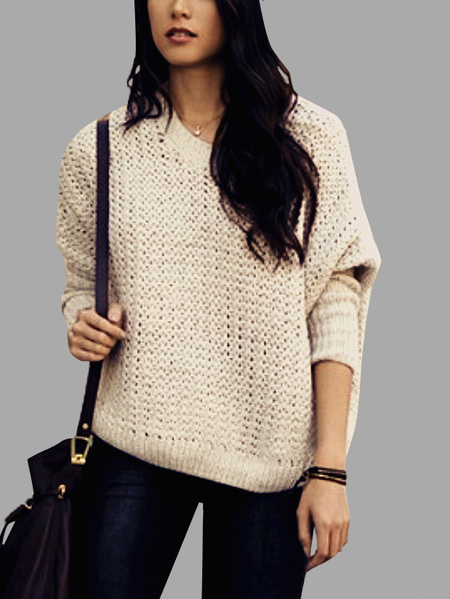 Beige Round Neck Hollow Design Loose Jumper