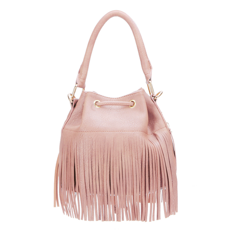 Pink Leather-look Drawstring Closure Tassel Design Shoulder Bag