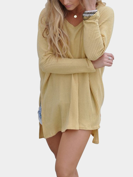 Mustard Scoop Neck Slit Hem Asymmetrical Jumper