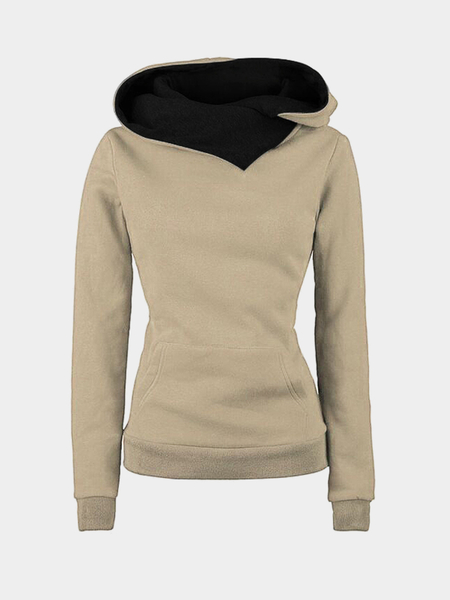 Light Khaki Special Hooded Big Pocket Front Sweatshirt