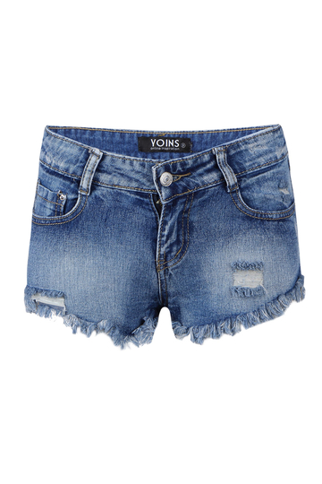Distressed Denim Hot Pants In Light Bule Wash