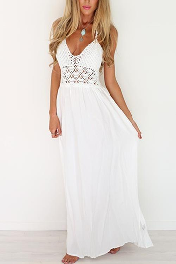 Backless Halter Knitted Beach Dress in White