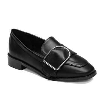Black Flat Side Buckle Design Loafers