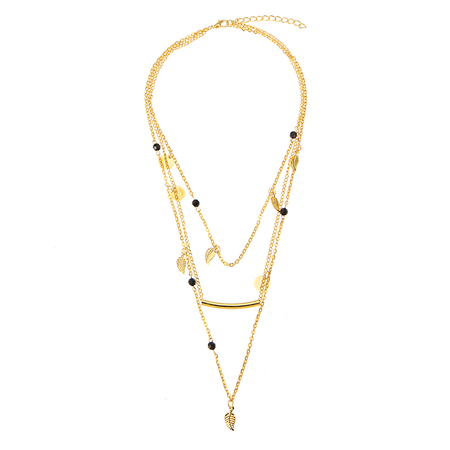 Gold Plated Layered Artificial Crystal and Leaf Necklace