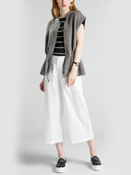 Grey Gilet Jacket with Draw String Waist