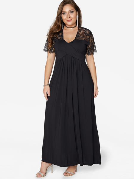Black Lace Splicing V-neck Short Sleeves Maxi Dresses