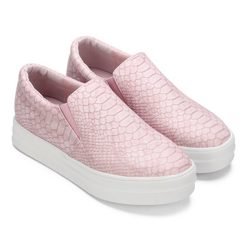 Pink Snake Print Round Toe Slip-on Loafers