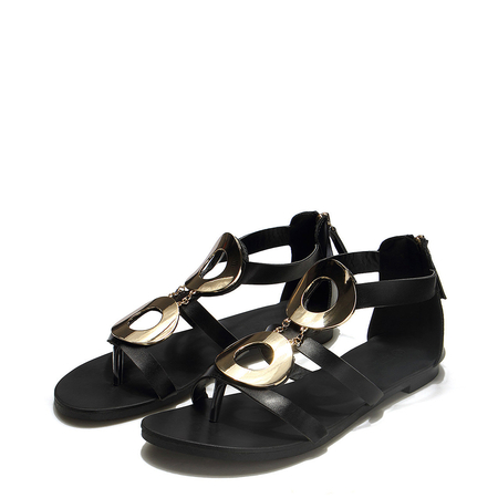 Black Metal Detail Flat Sandals