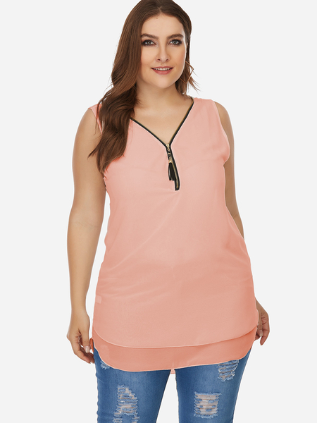 Plus Size Pink Zip Front Criss-cross Tank