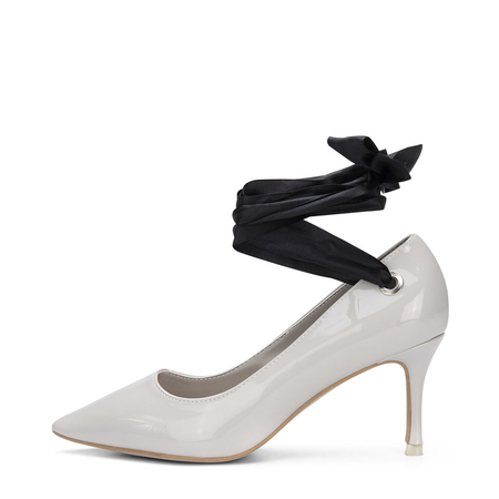 Grey Patent Leather Self-tie Pointed Toe Heels