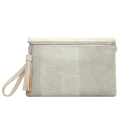 Beige PU Clutch Bag In Snake Pattern