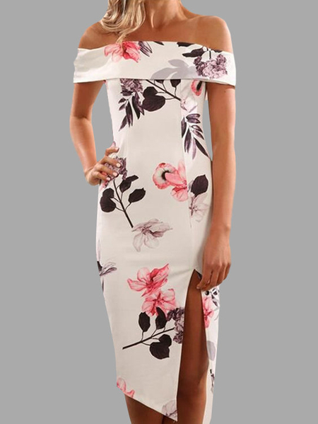 White Off-the-shoulder Random Floral Printed Midi Dress