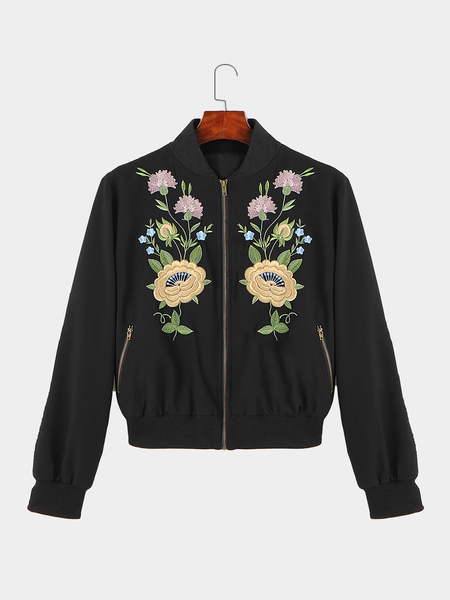 Embroidery Pattern Point Neck Zipper Pocket Jacket