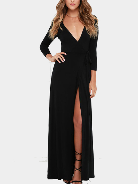 Black Thigh Split Wrap Maxi Dress