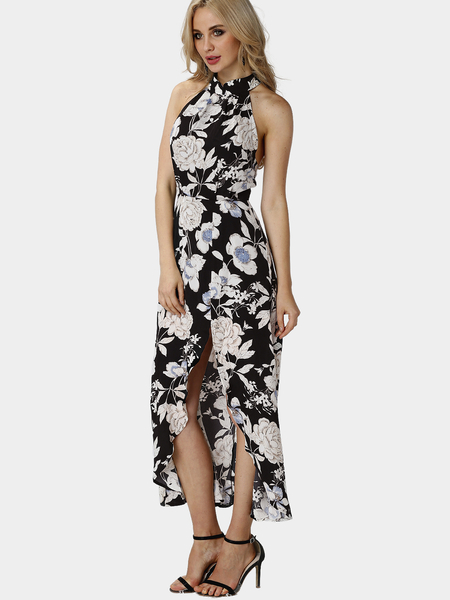 Random Floral Print Sleeveless Elastic Waist Splited Hem Maxi Dress