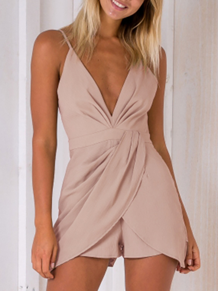 Fashion Deep V-Neck Sleeveless High-waist Playsuit With Shoulder Straps in Pink