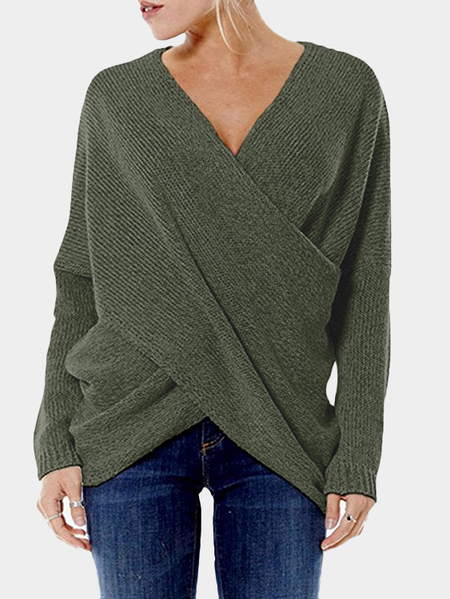 Celadon Cross Front V-neck Irregular Hem Jumper