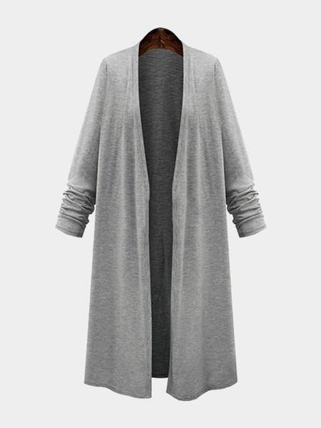 Fashion Long Length Cardigan in Grau