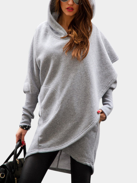 Grey Front Wrapped Hoodie Trench Coat
