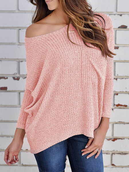 Pink Chest Pocket Boat Neck Long Sleeves Pitted Sweater
