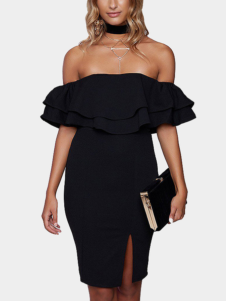 Off-the-shoulder Frill Partykleid in schwarz
