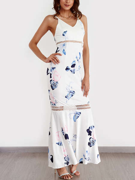 White Hollow Design Floral Print V-neck Sleeveless Dress