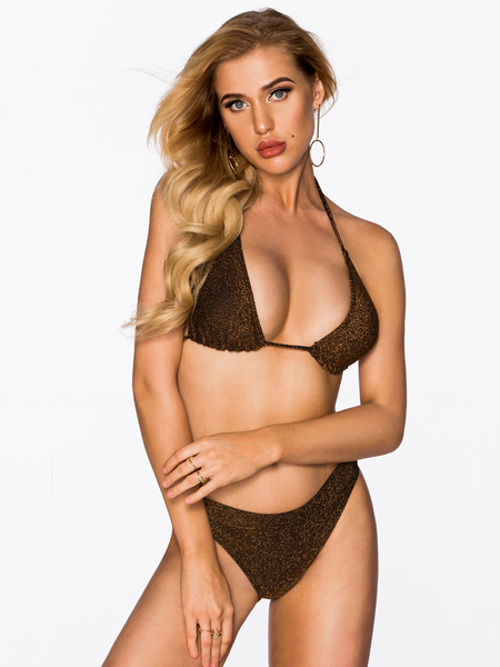 Gold Halter V-neck Tie-up Design Bikini
