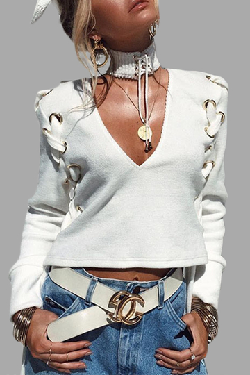 White Lace-Up Deep V-Neck Long Sleeves Crop Top
