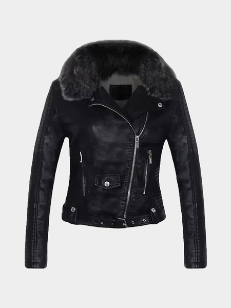 Black Leather Biker Jacket with Artificial Fur