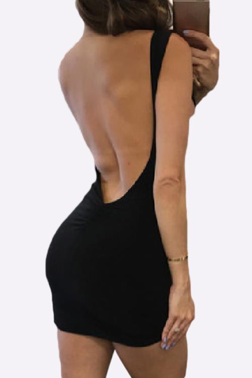 Black Round Neck Sleeveless Backless Mini Dress
