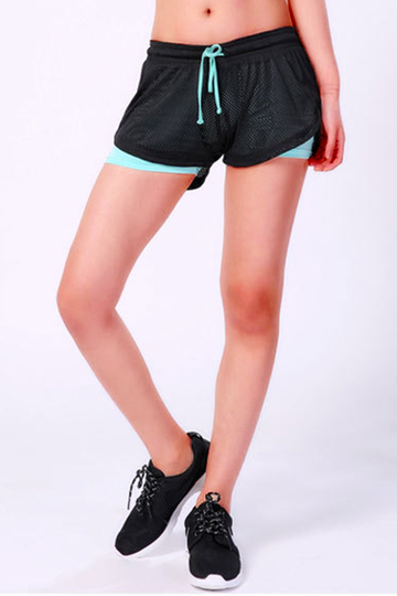 Double Layer Yoga Shorts in Black & Turquoise