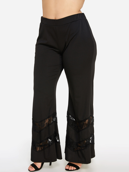 Black Lace Details Bell Bottom Pant