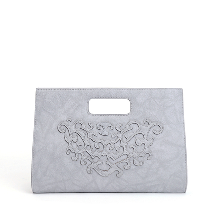 Grey Carved Design Crossbody Bags