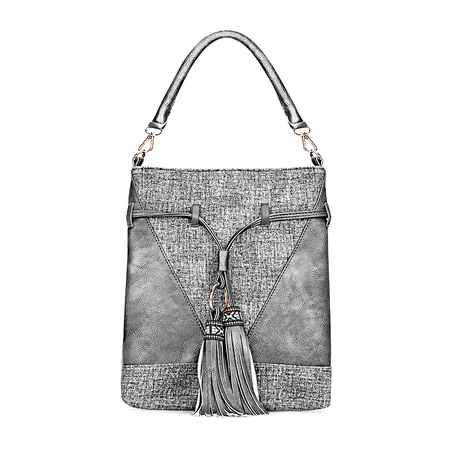 Dark Grey Leather-look Embroidered Tassel Shoulder Bag with Drawstring