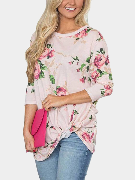 Light Pink Random Floral Print Round Neck Long Sleeves T-shirts