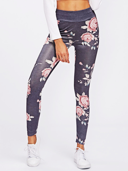 Active Rose Printed High Waisted Yoga Leggings in Grey