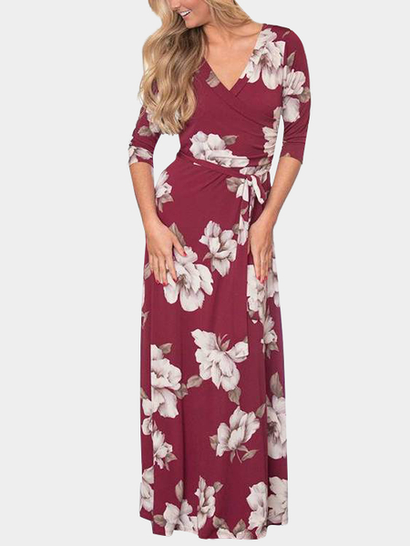 Burgundy Self-tie Design Random Floral Print V-neck Maxi Dress