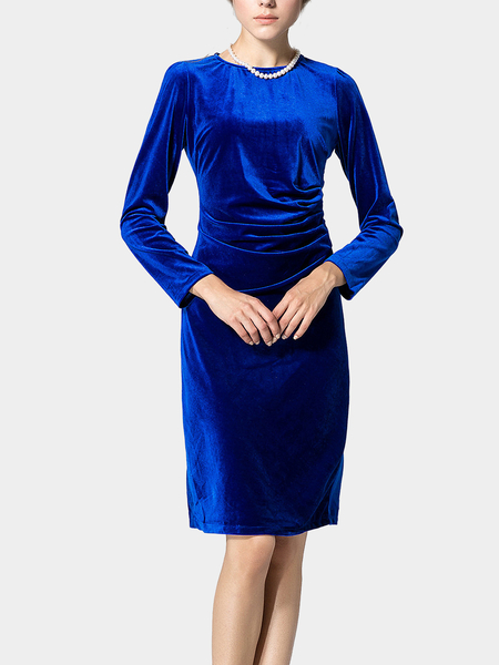 Blue Long Sleeve Body-Conscious Velvet Dress