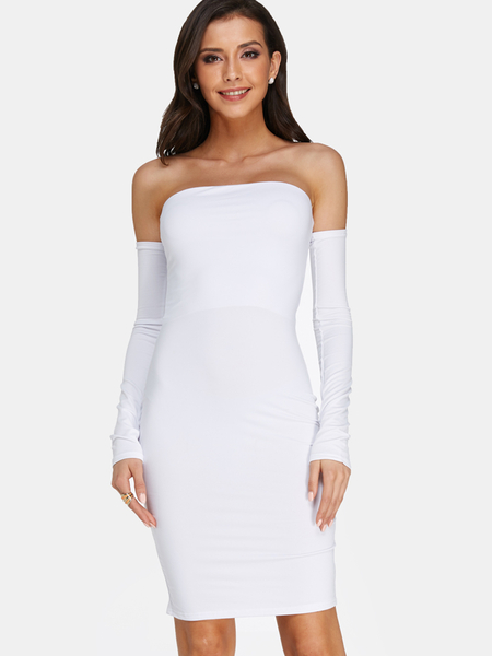 White Backless Design Plain Off The Shoulder Long Sleeves Midi Dress
