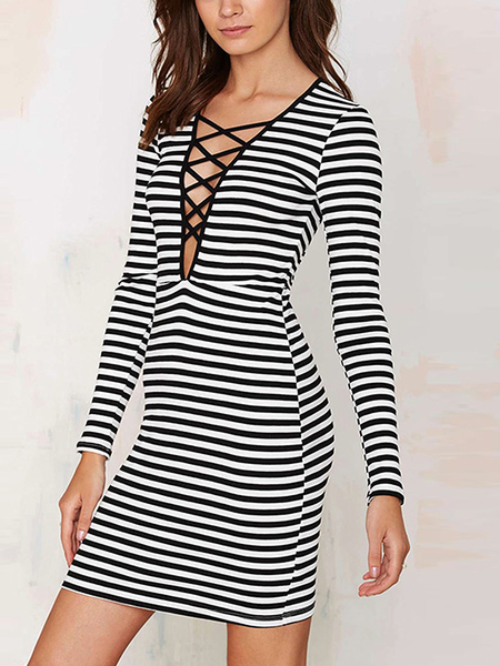 Long Sleeve Stripe Dress with Cross V-neck