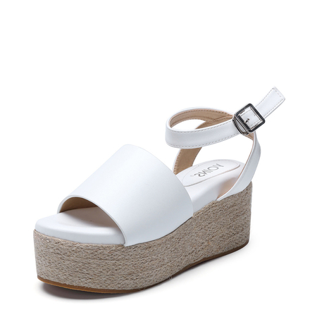 White Woven Platfrom Design Sandals